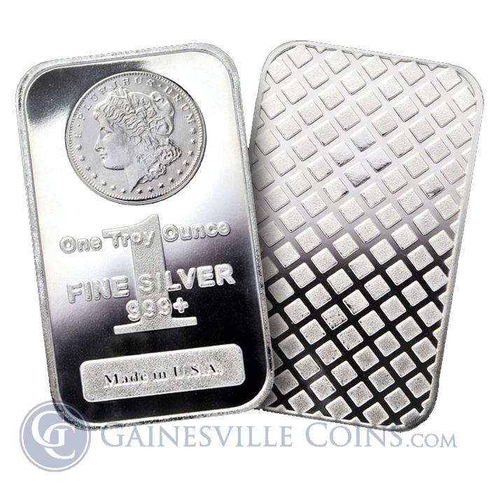Image Showcase for 1 oz Morgan Design Silver Bars .999 Fine: Bar Made In The USA