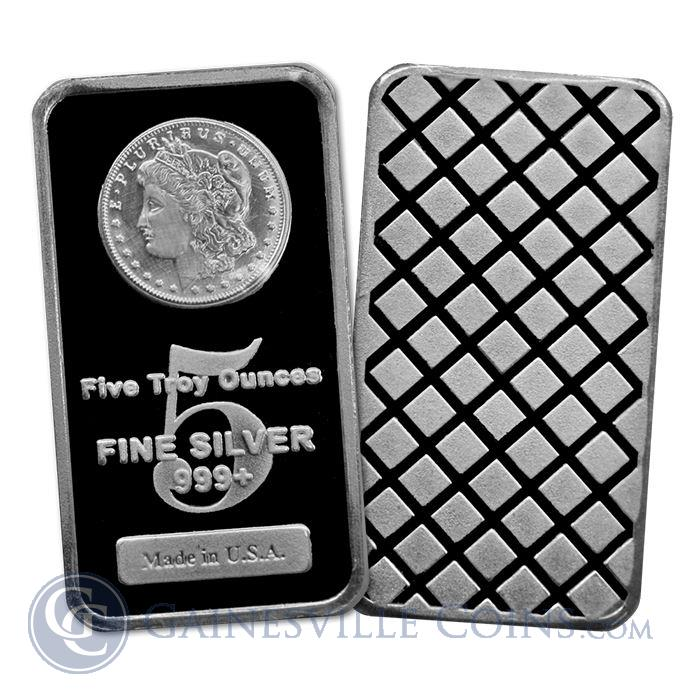 Image Showcase for 5 oz Morgan Silver Bars 999 Pure | Made In The USA