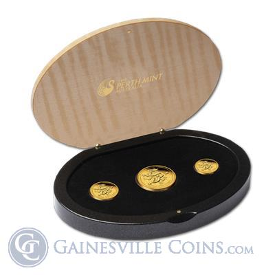 2012 3 Coin Proof Gold Lunar Year of the Dragon Set Perth Mint Presentation Box