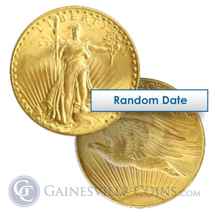 Image Showcase for $20 St. Gaudens Gold Double Eagle Coins (About Uncirculated) - Random Date
