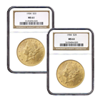 $20 Gold Liberty Double Eagle - (NGC/PCGS MS-61) - Random Date