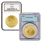 $20 Gold Liberty Double Eagle - (NGC/PCGS MS-64) - Random Date