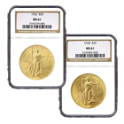 $20 St. Gaudens Gold Double Eagle Coins (NGC/PCGS MS-61) - Random Date