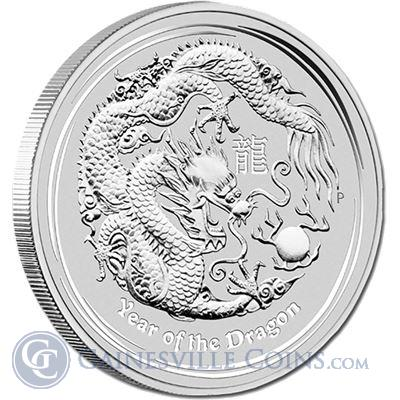 2012 10 oz Silver Perth Mint Year of the Dragon Coin