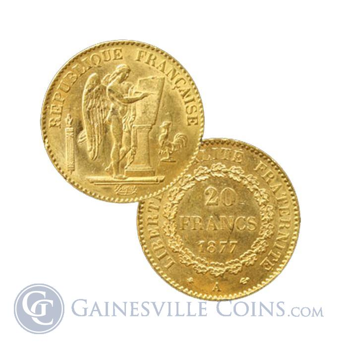 Image Showcase for French 20 Franc Gold Angel - Random Date (.1867 AGW)