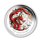 2012 Year of the Dragon - 1 oz Proof Colored Silver Coin