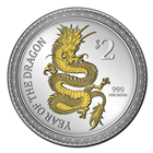2012 Gilded Dragon 1 oz Silver Proof Lunar Coin: New Zealand Mint (Mintage of ONLY 2,500!)