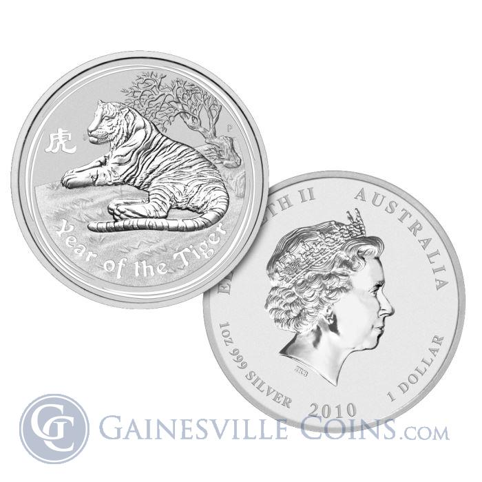 Image Showcase for 2010 1 oz Silver Australian Year of the Tiger Coin (Series 2)