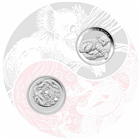 2011 Beijing Coin Expo 1/2 oz Silver Dragon and Koala 2 Coin Set (Mintage of ONLY 2,888 sets!)