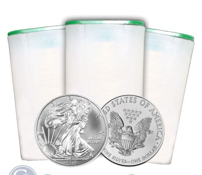 Image Showcase for 2012 1 oz American Silver Eagle Roll of 20 Coins: Brilliant Uncirculated Condition