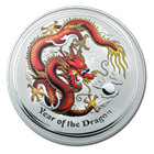 2012 2 oz Silver Australian Year of the Dragon Colorized Coin