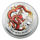 2012 1/2 oz Silver Australian Year of the Dragon Colorized Coins