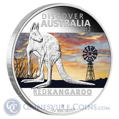 2012 1 oz Proof Silver Discover Australia   Red Kangaroo