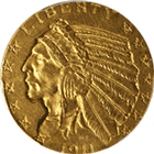 $2.5 Indian Gold Quarter Eagle (Very Fine) - Random Date