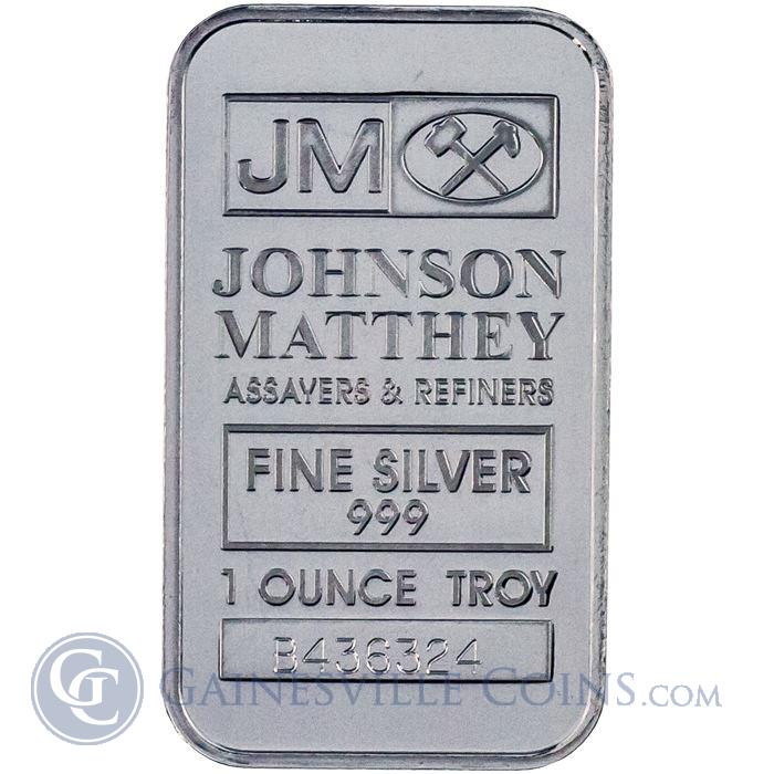 Image Showcase for 1 oz Johnson Matthey Silver Bar .999 Fine