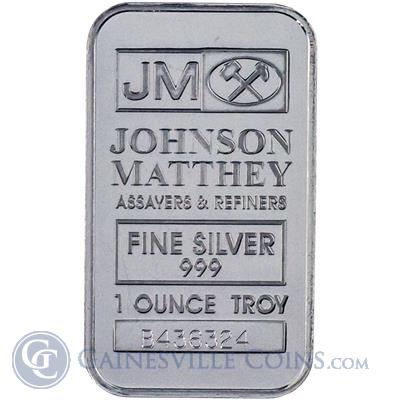 1 oz Johnson Matthey Silver Bars Obverse