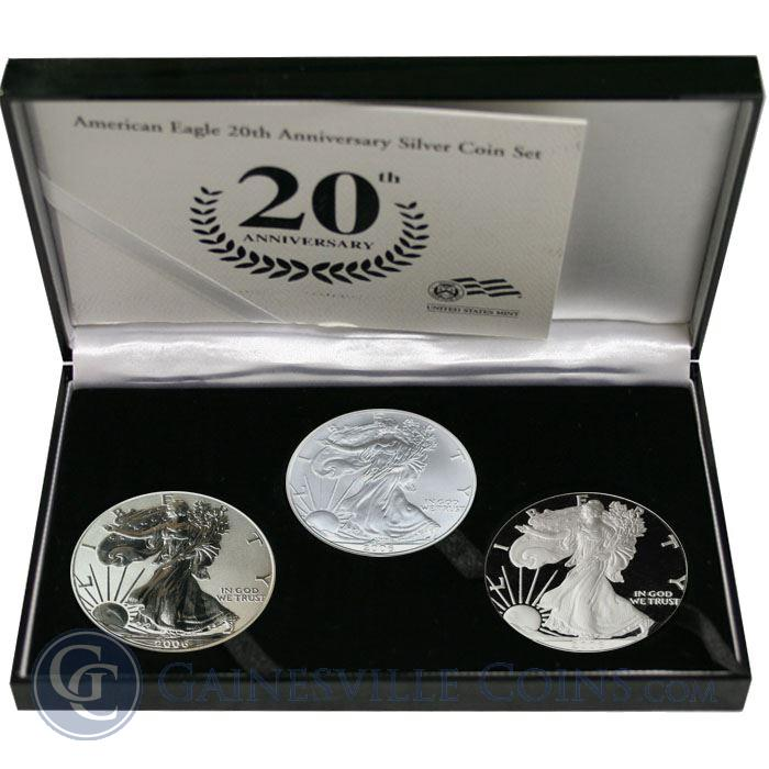 Image Showcase for 2006-W Silver Eagle 3-Coin Proof Set (20th Ann. with Box & COA)