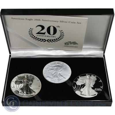 2006-W Silver Eagle 3-Coin Set (20th Ann. with Box & COA)