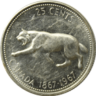 1967 Canadian Silver Quarter - Running Bobcat