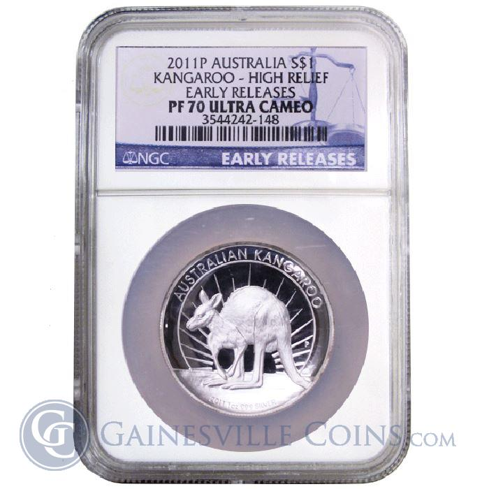Image Showcase for 2010 1 oz Silver High Relief Proof Kangaroo NGC PF-70 Ultra Cameo