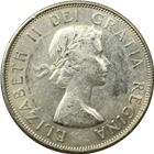 Common Date Elizabeth II Canadian Silver 50 Cents Coin (1953-1966)