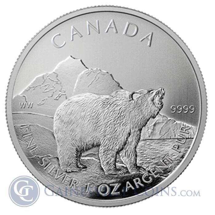 Image Showcase for Canadian Grizzly Silver Coin 2011 1 oz .9999 Fine Wildlife Series Coins
