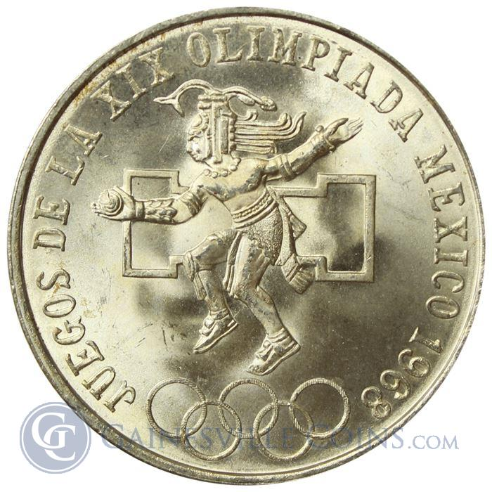 Image Showcase for 1968 Mexican Silver 25 Pesos Olympics Coin (.5209 oz of silver)