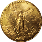 Mexico 1943 50 Pesos Gold Coin (1.2057 oz) - Mintage of Only 89,000 Coins