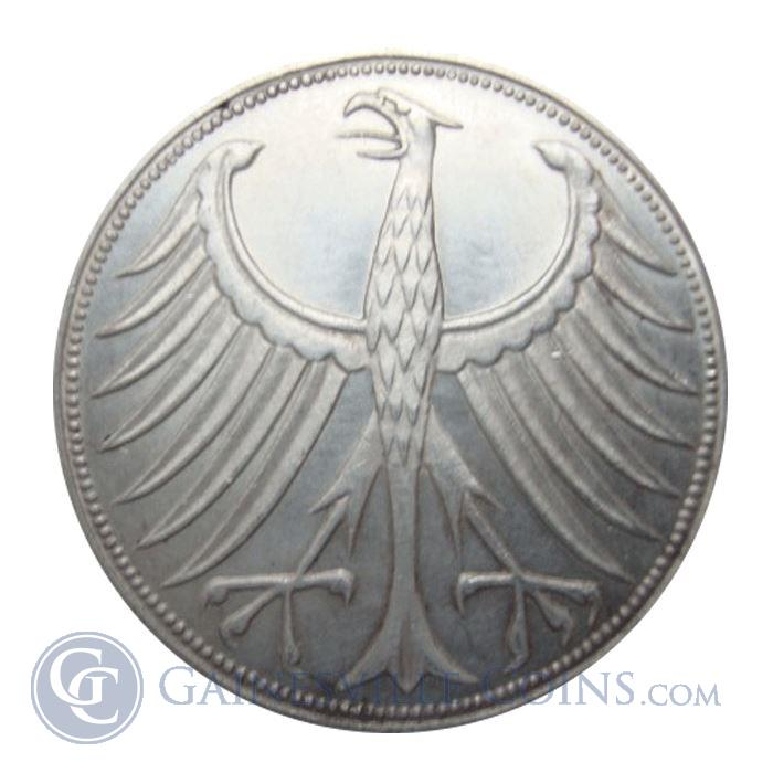 Image Showcase for 1951-1979 German 5 Deutsche Mark Silver Coin (0.225 oz) - Random Year