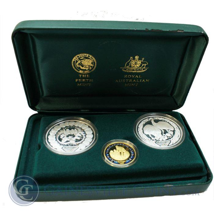 Image Showcase for 2000 Perth Mint Sydney Olympic Preparation 3 Coin Gold and Silver Proof Set. (.32 oz of .9999 Fine gold) (2 oz .999 Fine Silver)