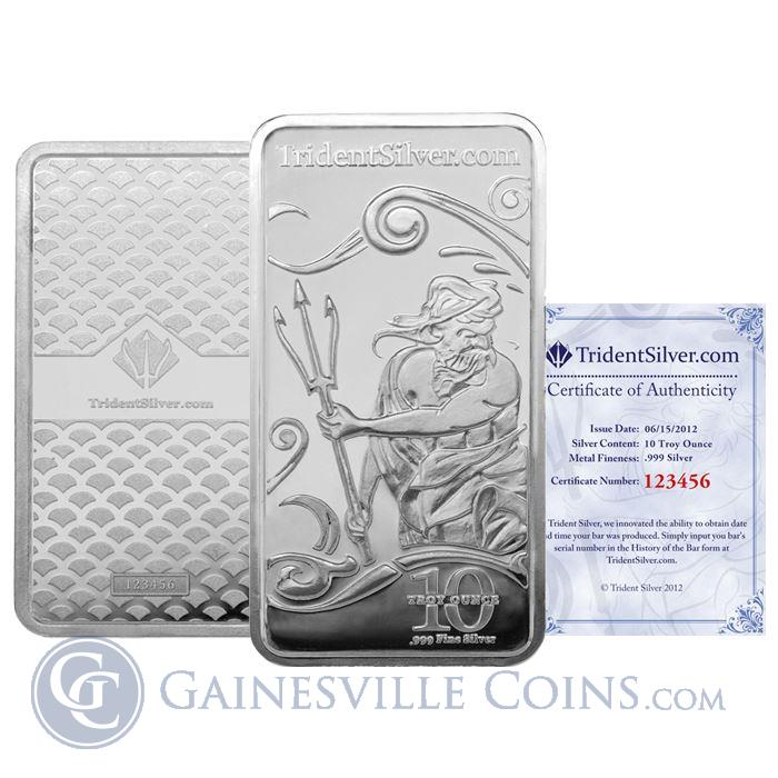 Image Showcase for 10 oz Trident Silver Bar (.999 Fine) - Assay Certificate & Verification Serial Number