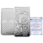 10 oz Trident Silver Bar (.999 Fine) - Assay Certificate & Verification Serial Number