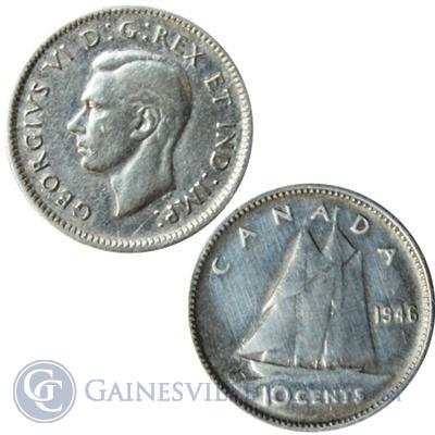 George VI Canadian Silver 10 Cents Coin  (.06 Oz  troy ounces) - Dates of our Choice