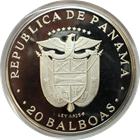1975 Panama 20 Balboa Proof Silver Simon Bolivar Coin - With Box and COA (3.85 oz of Silver)