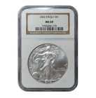 2002 1 oz Silver American Eagle MS-69 NGC