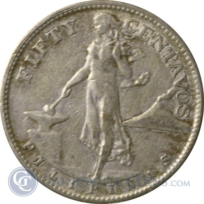 Image Showcase for 1944-1945 Philippines 50 Centavos Silver Coin - Random Dates (.2411 oz of Silver)