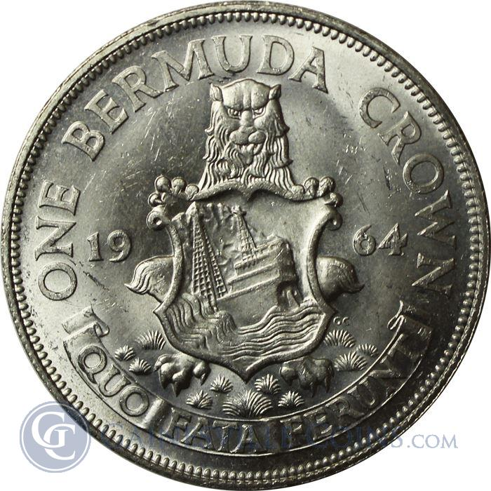 Image Showcase for 1964 Bermuda One Crown Silver Coin (.3636 oz)