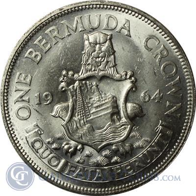 1964 Bermuda One Crown Silver Coin