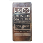 10 oz Johnson Matthey Silver Bar - (Pressed, Plain Back)