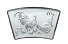 2005 1 oz Silver Chinese Rooster Fan Shaped (In Capsule) - Mintage of only 66,000