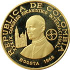 1968 Colombia 300 Pesos Proof Gold Pope Paul VI (.3733  oz of Gold)