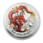2012 10 oz Silver Australian Year of the Dragon Colorized Coin