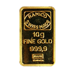 10 Gram Ramico Swiss Made Gold Bar .9999 Pure