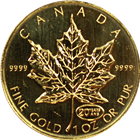 1999 1 oz Gold Canadian Maple Leaf with 20th Anniversary Privy Mark