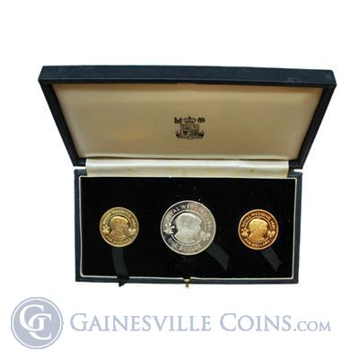 1981 Bermuda Royal Wedding 3-Coin Proof Gold & Silver Set -Mintage of 500 Sets (1.41 AGW & 1 oz ASW)