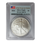 2010 Silver Eagle PCGS MS70 25th Year of Issue