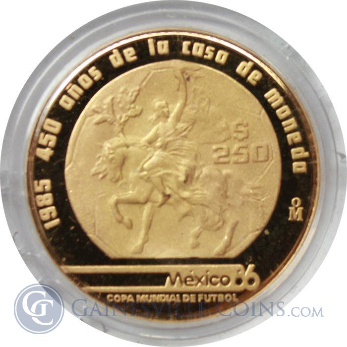 Image Showcase for 1985 Mexico 250 Peso Proof Gold World Cup Coin (.250 oz of Gold)