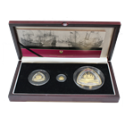 2007 Bermuda Shipwrecks 3 Coin Proof Gold and Silver Triangle Set (San Pedro) - Mintage of only 300 Sets! (With Box and COA)