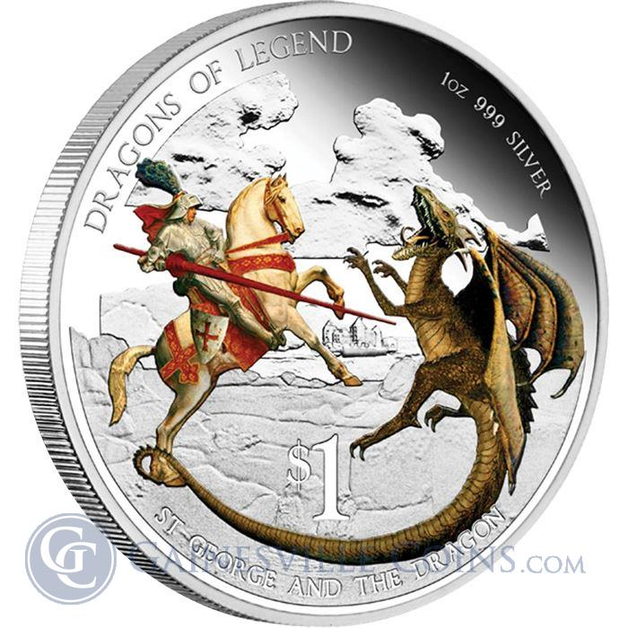 Image Showcase for 2012 1 oz Proof Silver Dragons of Legend - St. George and the Dragon (With Box and COA)