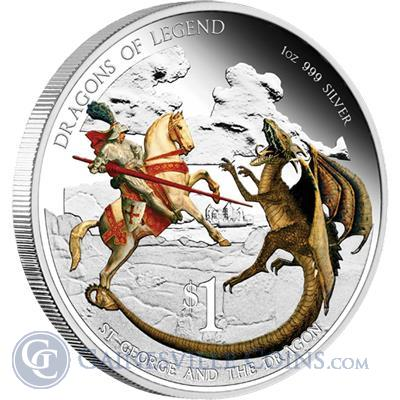 2012 1 oz Proof Silver Dragons of Legend - St. George and the Dragon (With Box and COA)